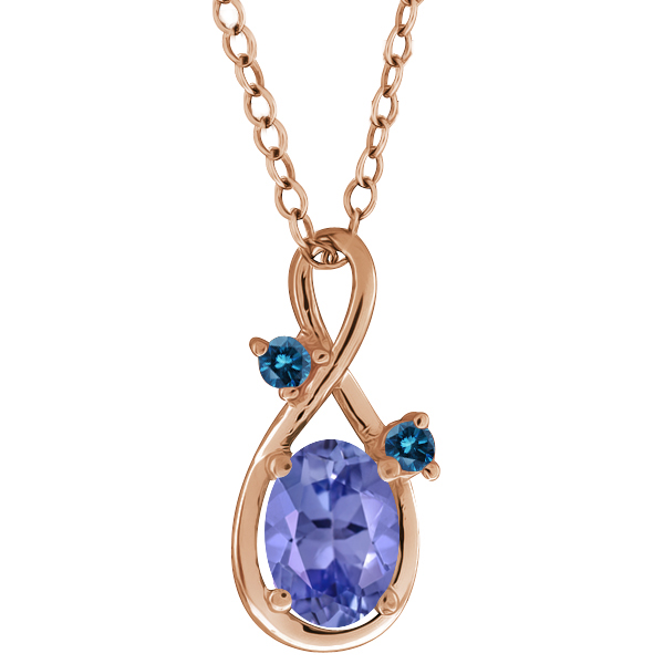 0.81 Ct Oval Blue Tanzanite and Diamond Gold Plated Sterling Silver Pendant