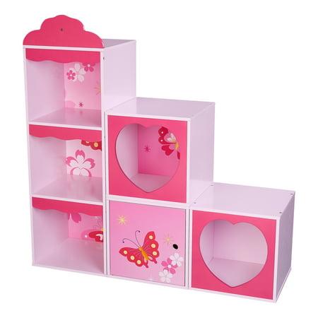 Senda Kids Bookshelf, Customizable 6-Cubes, Pink Butterfly ()