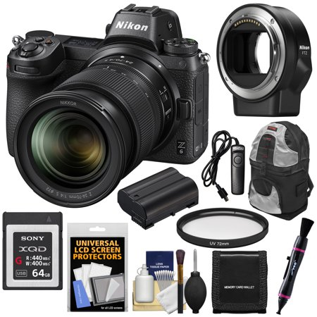 Nikon Z6 Mirrorless Digital Camera + 24-70mm f/4 S Lens with Adapter + 64GB Card + Battery +