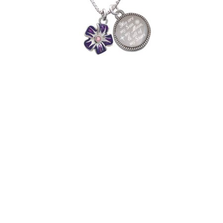 Purple and White African Violet Flower with Pink Crystal You are my Sun, My Moon, and All of My Stars Engraved - Sun And Moon Friendship Necklace