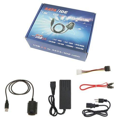 """NEW USB 2.0 to 2.5"""" 3.5"""" IDE SATA HDD Hard Drive Converter Adapter Cable + AC Power Adapter"""