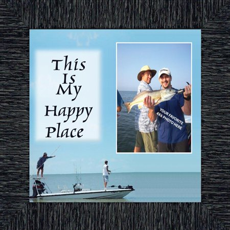 Fishermans Happy Place, Fishing Gifts,  Beach, Boating or Fishing Decor, Personalized Picture Frame, 10X10 9724 (Palace Photo)