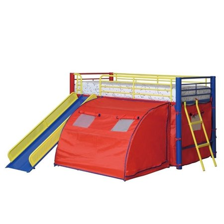 Bowery Hill Kids Metal Twin Loft Bunk Bed with Slide and Tent ()