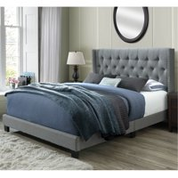 DG Casa Bardy Diamond Tufted Upholstered Wingback Headboard with Nailhead Trim Panel Bed Frame, Queen Size in Gray Fabric