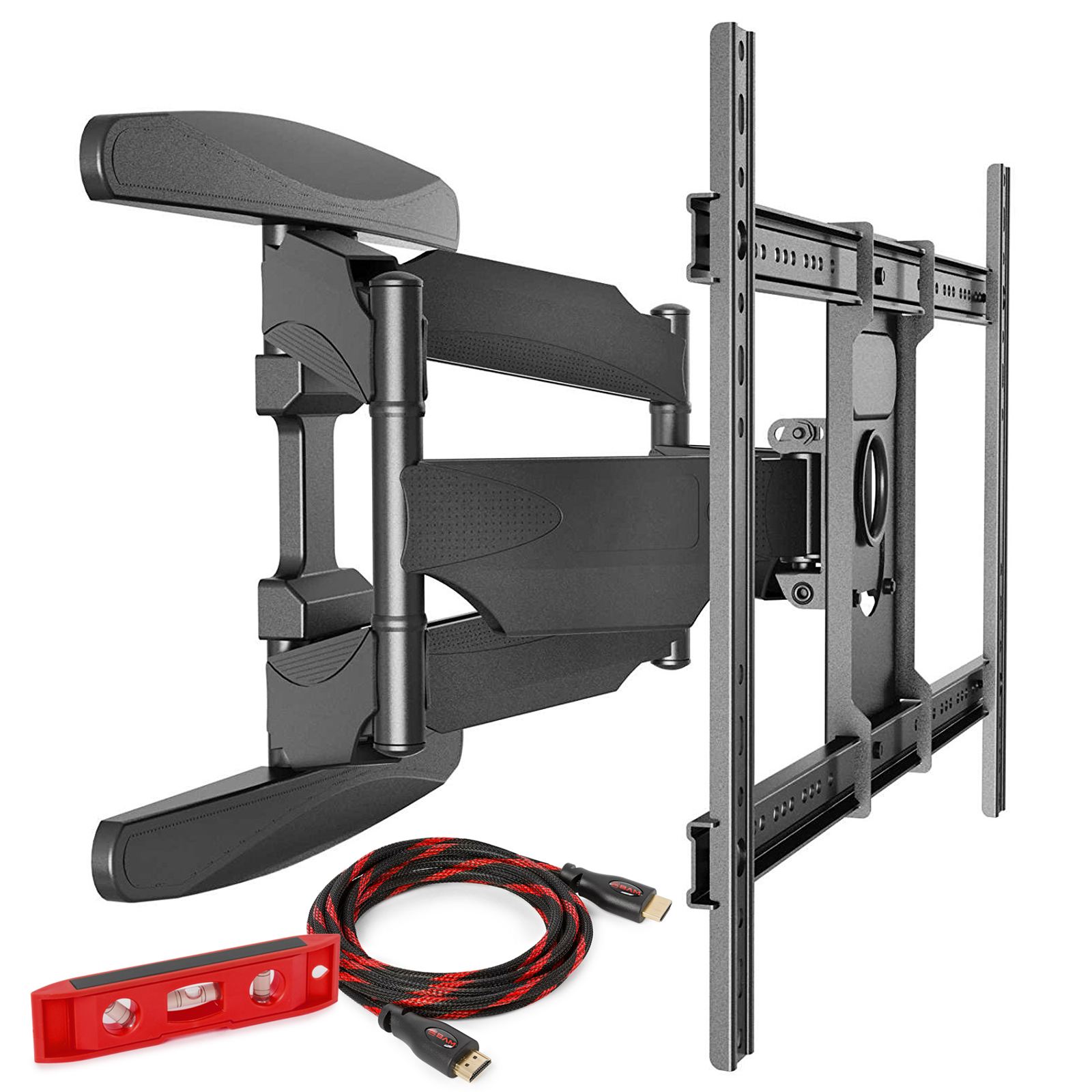 Mountio Heavy Duty Full Motion Articulating Tilt Swivel TV Wall Mount Extension Universal Bracket for 40???-70??? Flat Screen LED OLED QLED Televisions