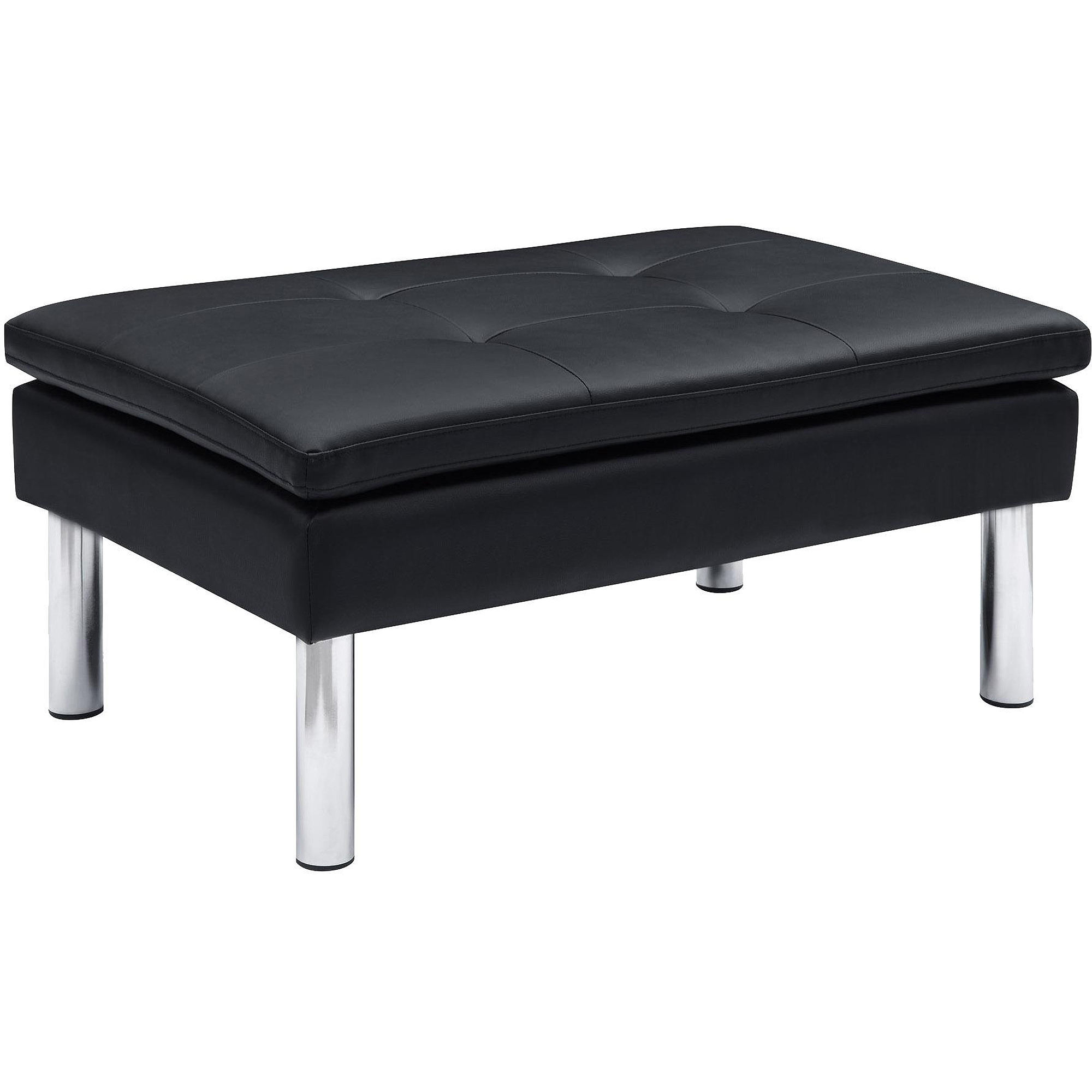 DHP Chelsea Black Faux Leather Ottoman by Dorel Home Products