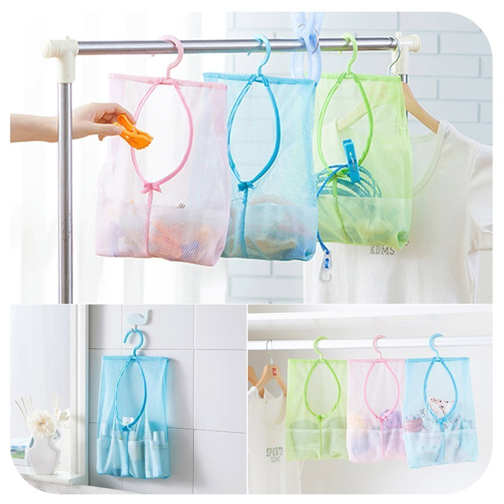 Dilwe Multipurpose Clothespin Bag with Hanger, Hanging Mesh Drying Bag Laundry Shower Caddy Kitchen Bathroom Storage Organizer