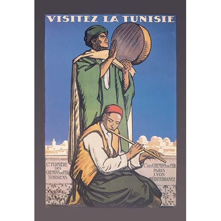 City Flute (Promotional poster from Tunisia dating from the 1930s highlighting culture and heritage  Showing a men playing a flute and a drum with a large city in the background  Joseph de La Nzire was a French p )