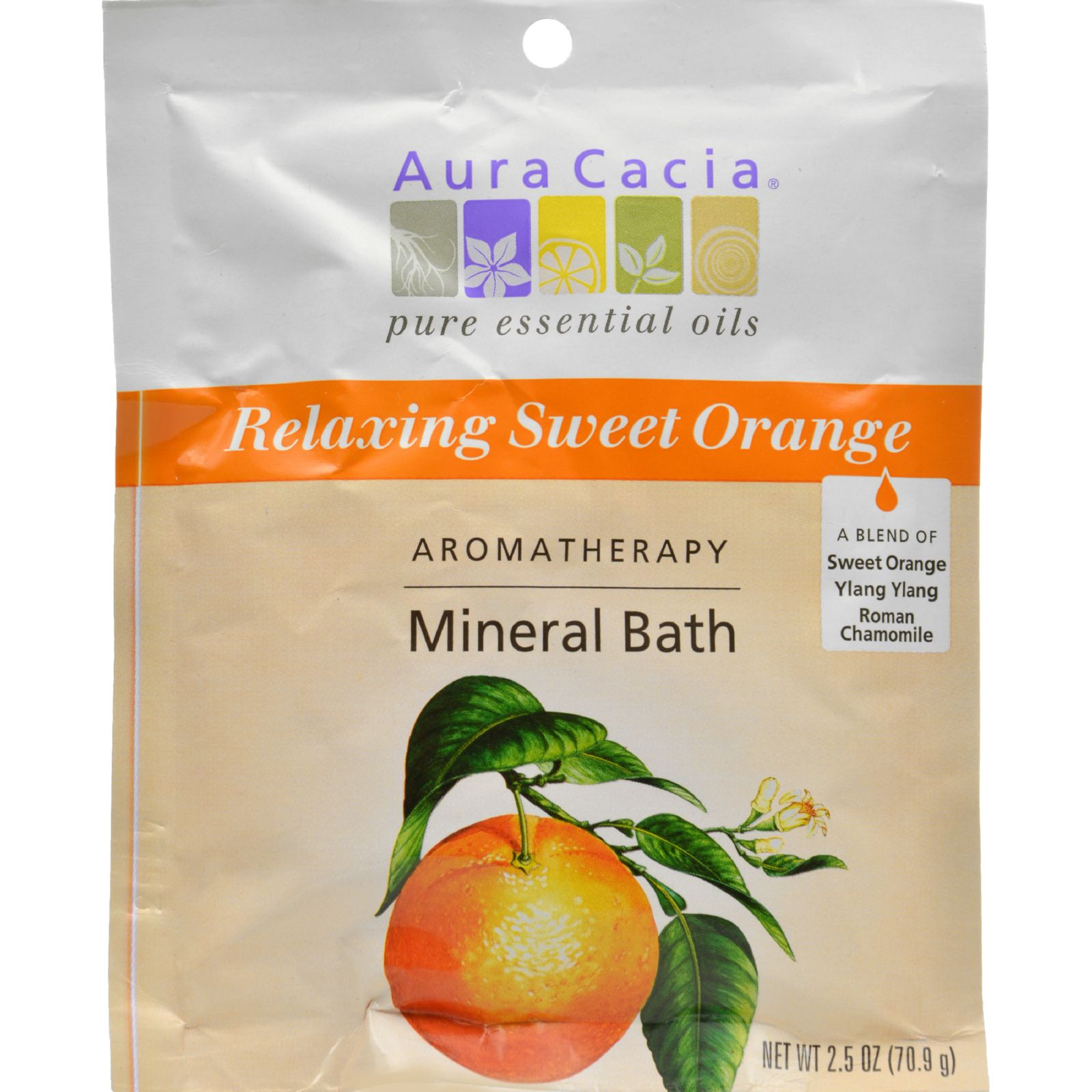 Aura Cacia Aromatherapy Mineral Bath Relaxing Sweet Orange - 2.5 oz - Case of 6