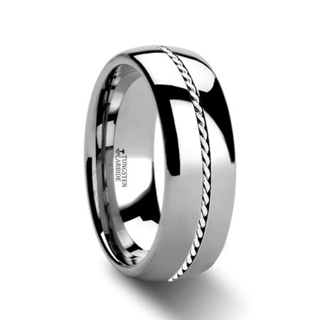 - Phytheon Braided Platinum Inlay Domed Tungsten Ring