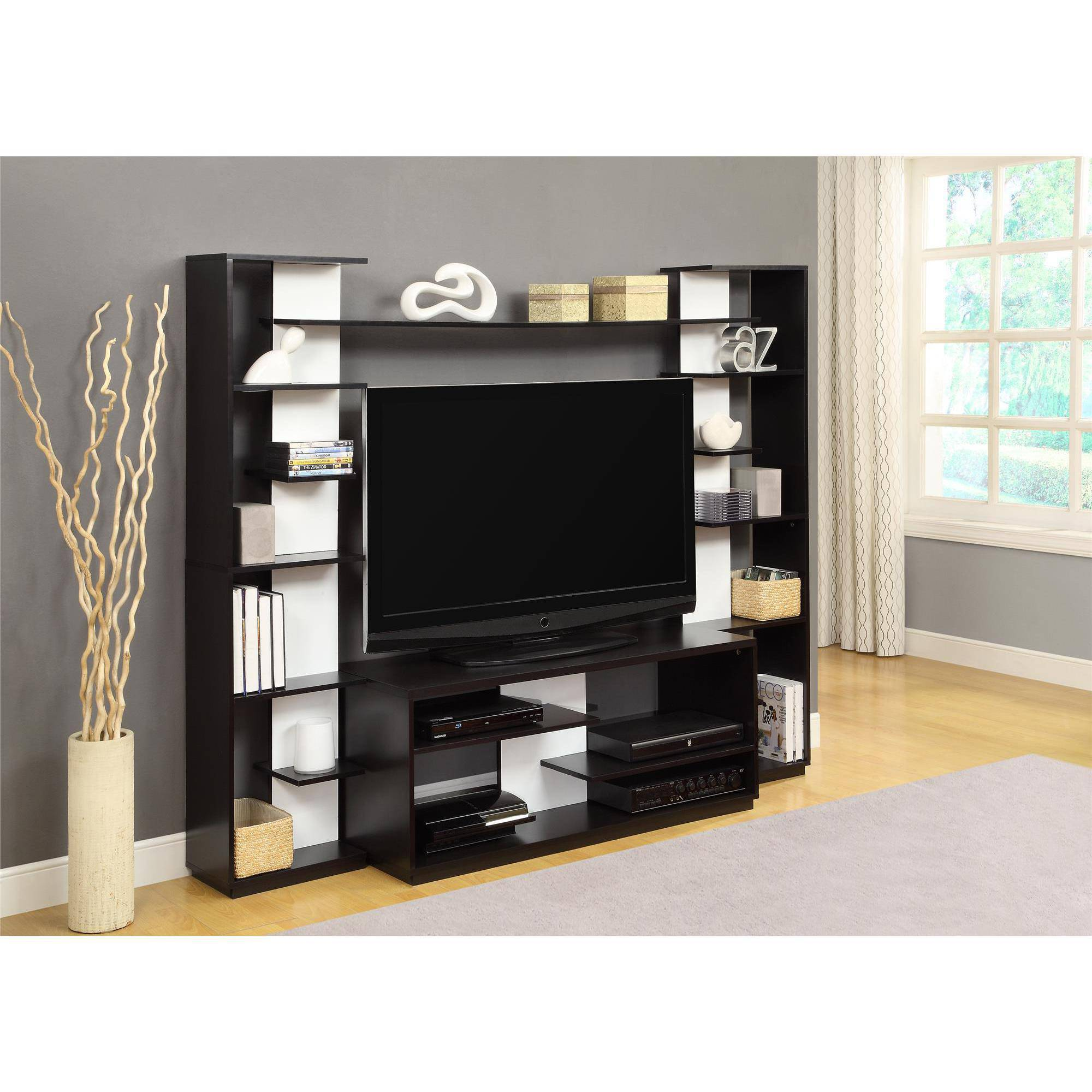"Click here to buy Altra Black and White Home Entertainment Center with Two Reversible Back Panels for TVs up to 45"" by Altra."