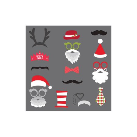 Christmas Retro Party Set - Glasses, Hats, Lips, Mustaches, Masks - for Design, Photo Booth in Vect Print Wall Art By woodhouse