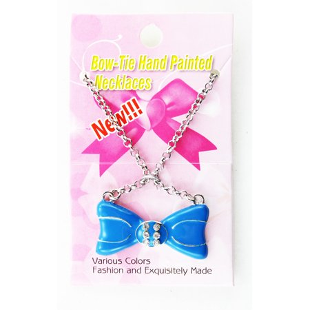 - Rhinestone Bow Tie Pendant Necklace  Blue Bow Tie Fashion Necklace