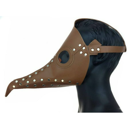 Steampunk Plague Doctor Long Nose Faux Leather Venetian Mask, Brown, One Size