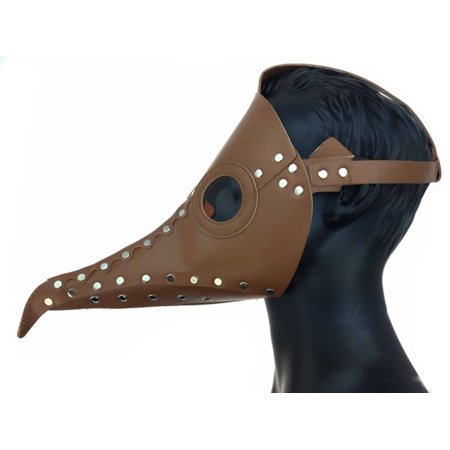 Steampunk Plague Doctor Long Nose Faux Leather Venetian Mask, Brown, One Size Easy Clear Nose Purge Mask