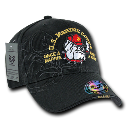 USMC US Marines Bulldog, Official Shadow Embroidered Official Caps Hats Black