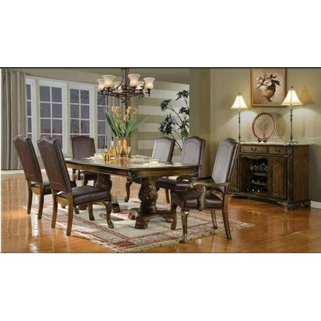 Mcferran D8801 Traditional Style Walnut Finish Pedestal Dining Room Set 5Pcs