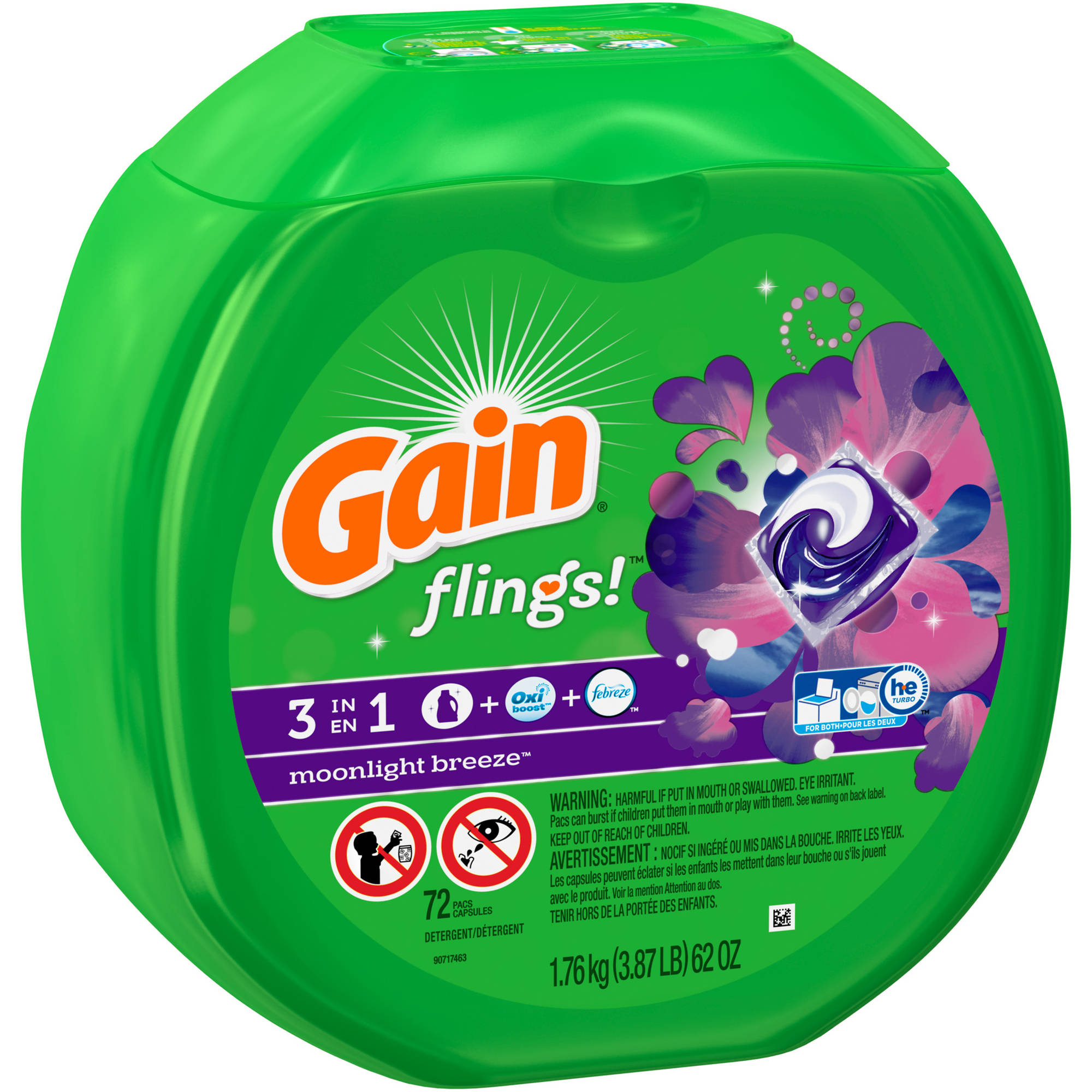 Gain flings! Laundry Detergent Pacs, Moonlight Breeze, 72 count