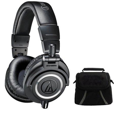 Audio Technica Ath M50x Professional Studio Headphones  Black  Deluxe Bundle   Includes Headphones And Compact Deluxe Gadget Bag For Cameras Camcorders