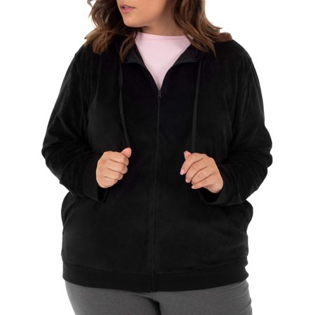 Athletic Works Women's Plus Size Velour Hoodie -