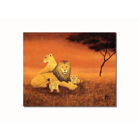 (African Lion Family Animal Wildlife Wall Picture 8x10 Art Print)