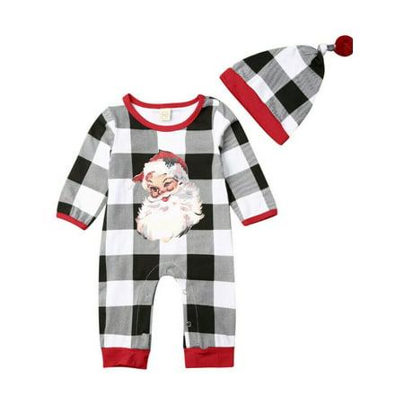 Lookwoild Baby Girl Boy Santa Claus Romper Bodysuit Xmas Hat Jumpsuit Outfit Set 100% Cotton Bodysuit Set
