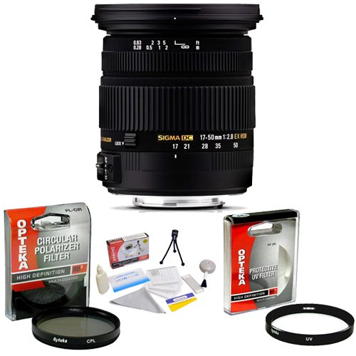 Sigma 17-50mm f/2.8 EX DC OS HSM FLD Autofocus Zoom Lens for Nikon + Opteka UV Filter + Opteka CPL Filter + Opteka 5 Piece Cleaning Kit