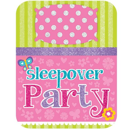 Sleepover Party Glitter Birthday Party Invitations (8 Count) - Party Supplies - Sleepover Party Supplies