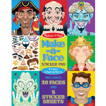 Melissa & Doug Make-a-Face Sticker Pad, Crazy Characters, 20 Faces, 5 Sticker Sheets