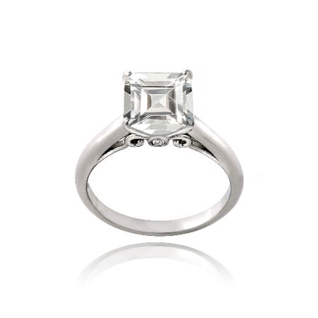 Sterling Silver 2.75ct Created White Sapphire Square Solitaire Ring