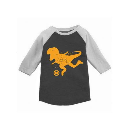 Awkward Styles Soccer Dinosaur Toddler Raglan Dinosaur Jersey Shirt for Kids Soccer Fans Dinosaur Tshirt for Toddler Boy Soccer Shirt for Toddler Girl Dinosaur Soccer Raglan for Kids Sports Fan