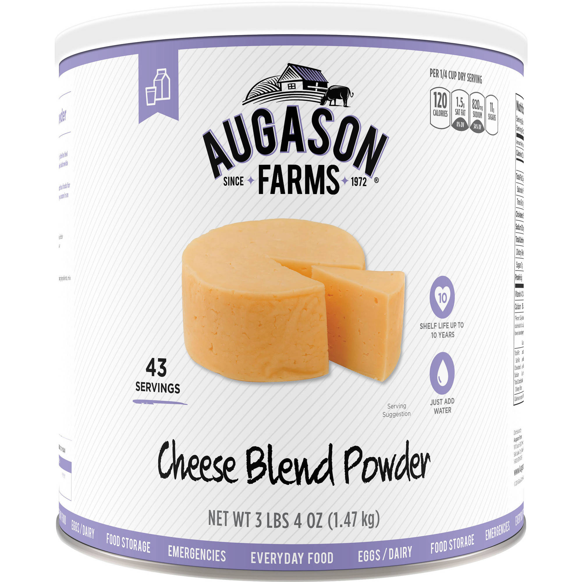 Augason Farms Emergency Food Cheese Blend Powder, 3 lbs