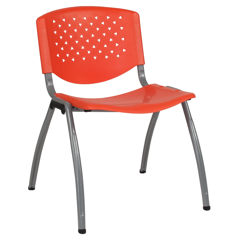Flash Furniture HERCULES Series 880 lb. Capacity White Plastic Stack Chair with Titanium Frame