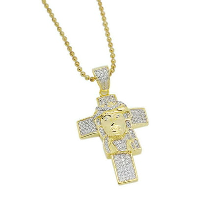 "Mens 1.25"" 14k Gold Plated Iced Out Lab Diamonds (CZ) Jesus Head on Cross Pendant with Chain"