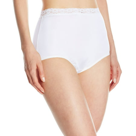 Vanity Fair Perfectly Yours Women`s Nylon with Lace Brief, 8, STAR WHITE