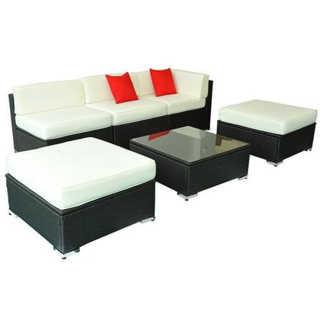 Outsunny 6 Piece Outdoor Rattan Wicker Garden Patio Sofa Sectional Furniture Set
