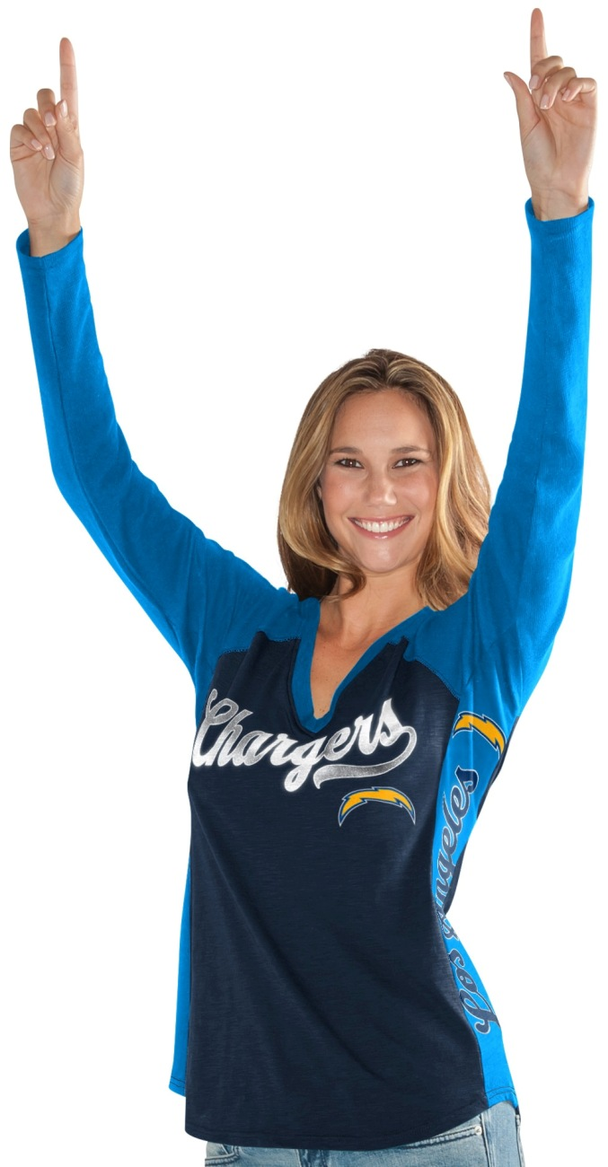 "Los Angeles Chargers Women's G-III NFL ""Stadium"" V-neck Long Sleeve T-shirt by G-III Sports"