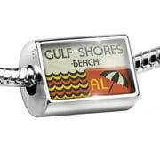 Neonblond Charm US Beaches Retro Gulf Shores Beach 925 Sterling Silver Bead