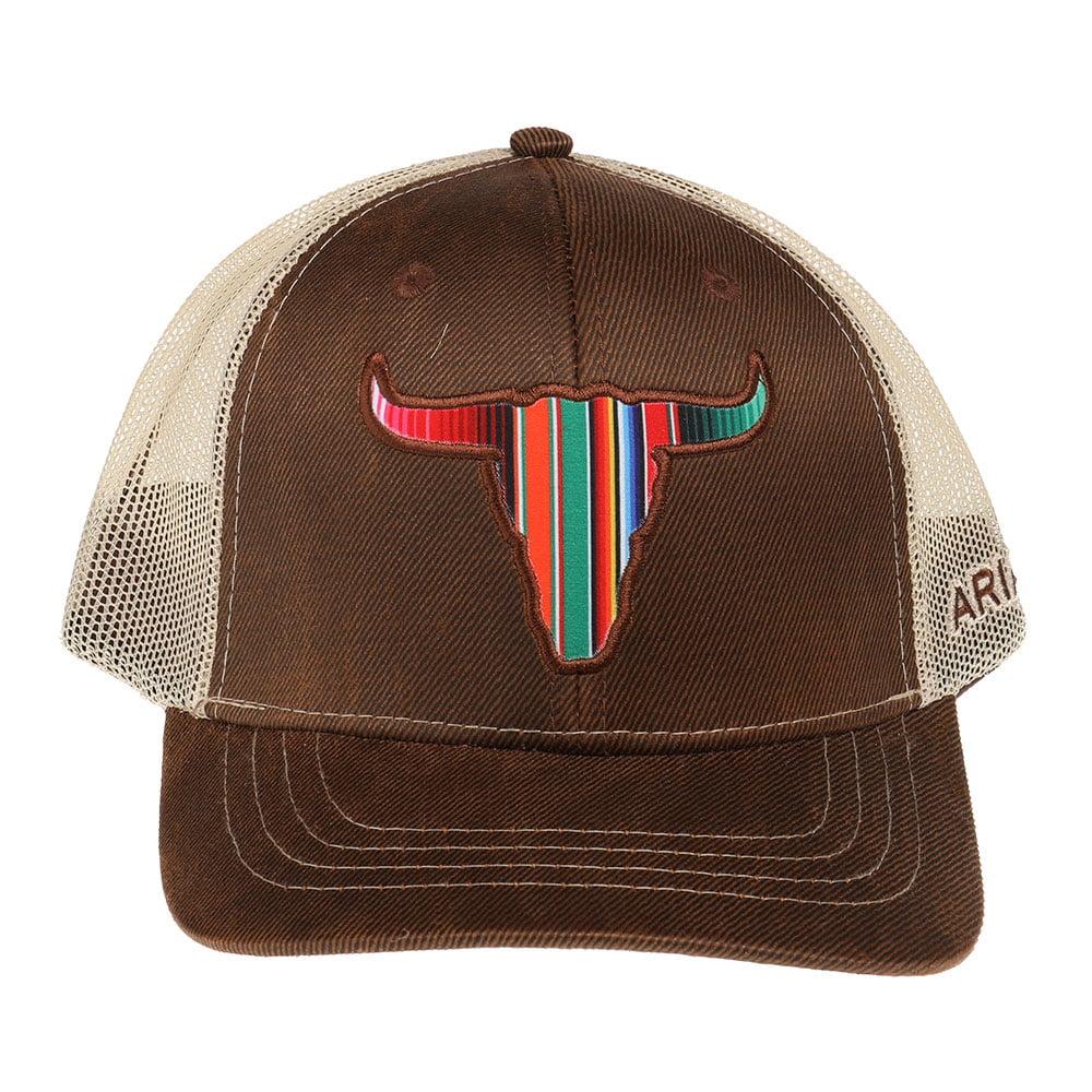 Ariat M F Western Products Mens Cap w//Serape Steer Head OS Brown