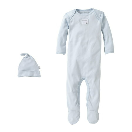 Burt's Bees Baby Organic Solid Footed Coverall + Knot Top Hat Set, 9M, Sky