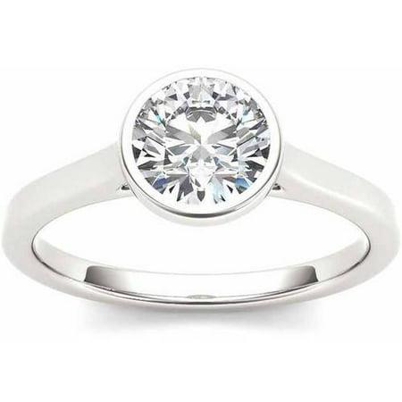 1 Carat T.W. Diamond Solitaire Bezel-Set 14kt White Gold Engagement Ring