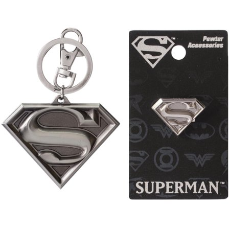 Pewter Keychain Measures (Bundle 2 Items: One (1) Superman Pewter Keychain and One (1) Pewter Lapel Pin )