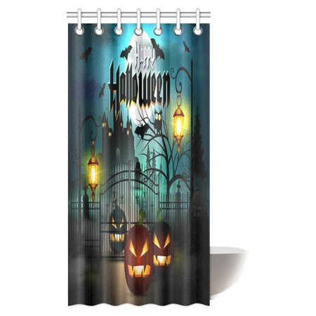 MYPOP Scary Decorations Shower Curtain, Happy Halloween Spooky Carved Halloween Pumpkin Decor Art Fabric Bathroom Decor Set with Hooks, 36 X 72 Inches - Scary Halloween Pumpkin Carving Patterns