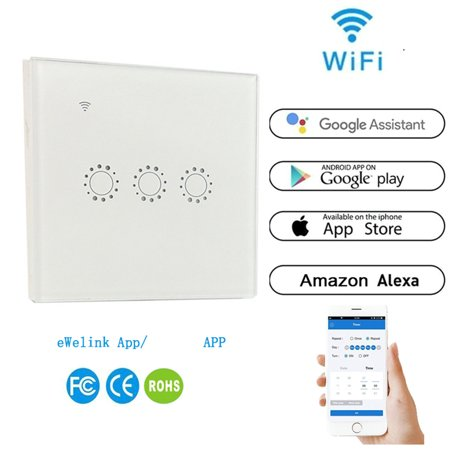 Pixnor Wireless Touch Remote Control Switch Panel with Switch 3 Gang Wifi  Link with iOS/Android APP eWeLink via(White)