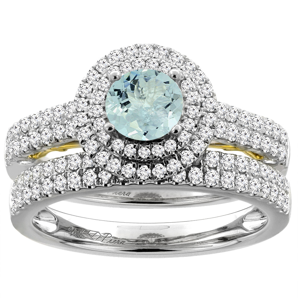 14K White Gold Diamond Natural Aquamarine Halo Engagement Bridal Ring Set Round 6 mm, size 5 by Gabriella Gold