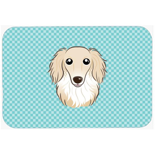 Checkerboard Pink Longhair Creme Dachshund Mouse Pad, Hot Pad Or Trivet, 7.75 x 9.25 In.