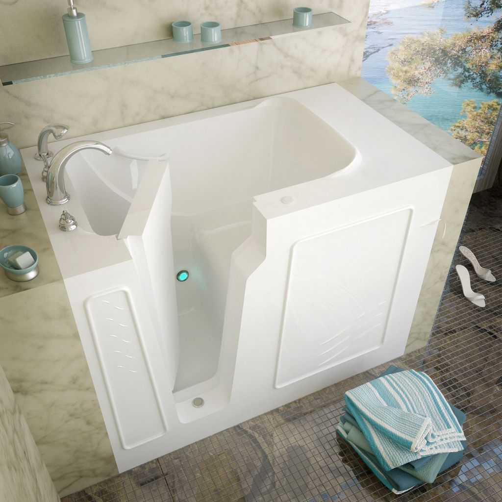 Meditub 29x52 Left Drain White Soaking Walk-In Bathtub
