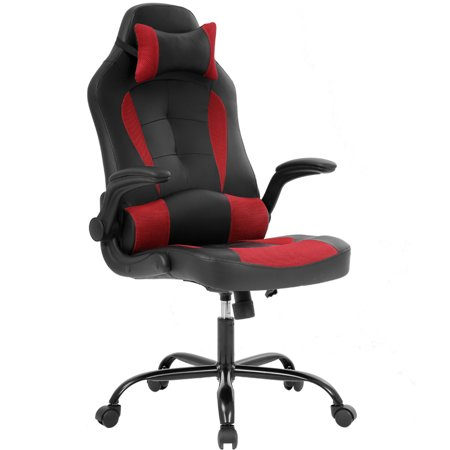 Adjustable Leather Headrest (Gaming Chair Ergonomic High-Back Racing Style Office Chair Adjustable Headrest Lumbar Support Executive Computer Chair, PU Leather Swivel Desk Chair(red))