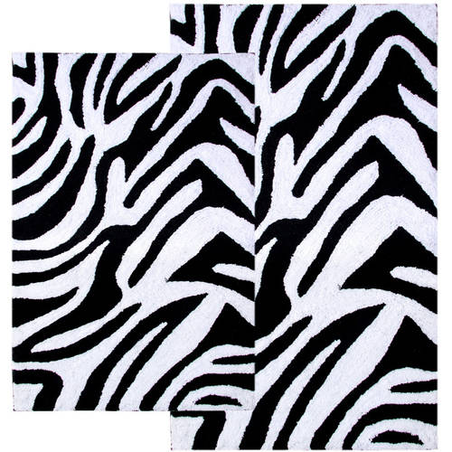 2-Piece Zebra Bath Rug Set