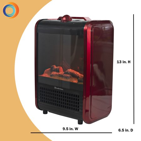 Comfort Zone 120 VAC Mini Portable Electric Fireplace Heater,Red